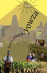 Jazzbugs poster featuring Dr. Jazz as a scarecrow in front of a field of corn in which the rest of the band is standing. Behind them, Nietzsches, with Ann Philippone playing piano on the roof, is superimposed on the Buffalo skyline with the Great Pyramid at Giza looming behind